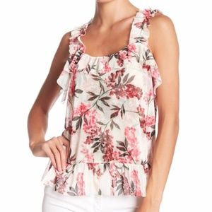 14th & Union Romantic Floral Tulle Tank Top MP NWT